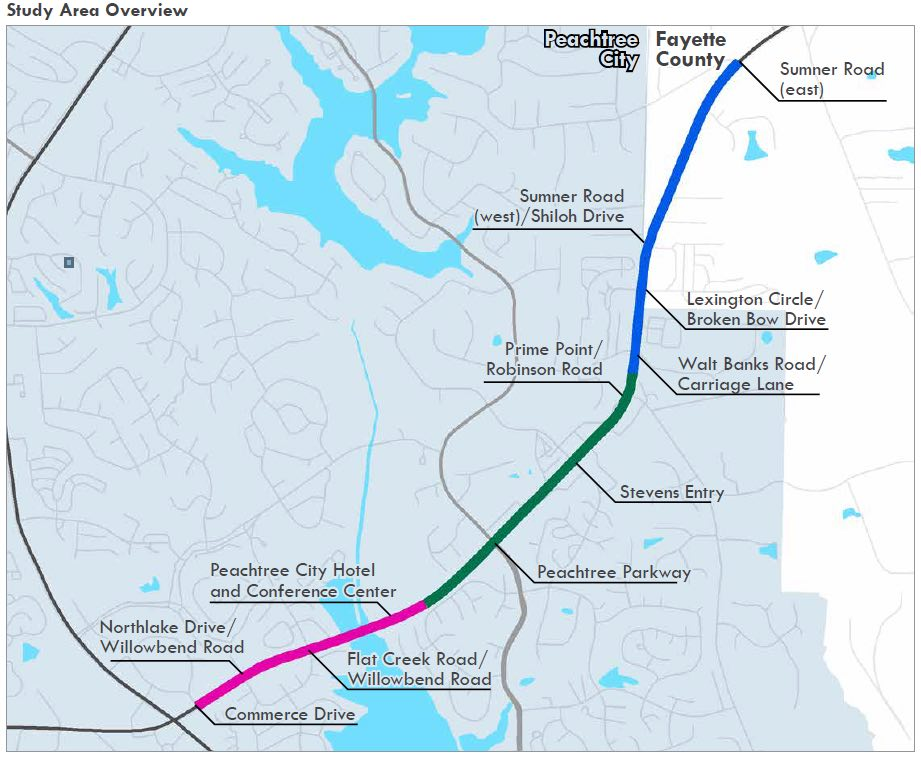 Map shows extent of study area. Graphic/Peachtree City.