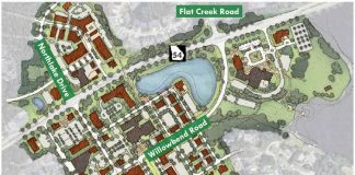 Planning map shows potential new city center from Drake Field and City Hall on the right, to the Willowbend Center at left, to the redeveloped Aberdeen Center at top left. Graphic/Peachtree City.