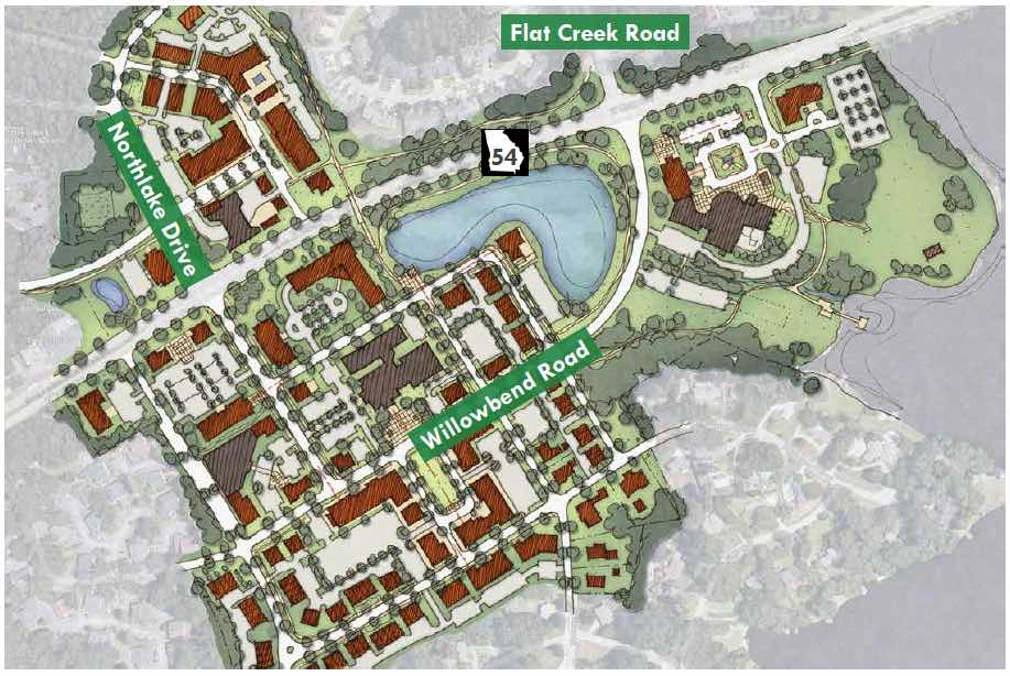 Planning map shows potential new city center from Drake Field and City Hall on the right, to the Willowbend Center at left, to the redeveloped Aberdeen Center at top left. The new version of Willowbend Road eliminates its western return curve, instead straightening out to join a grid of streets. Graphic/Peachtree City.