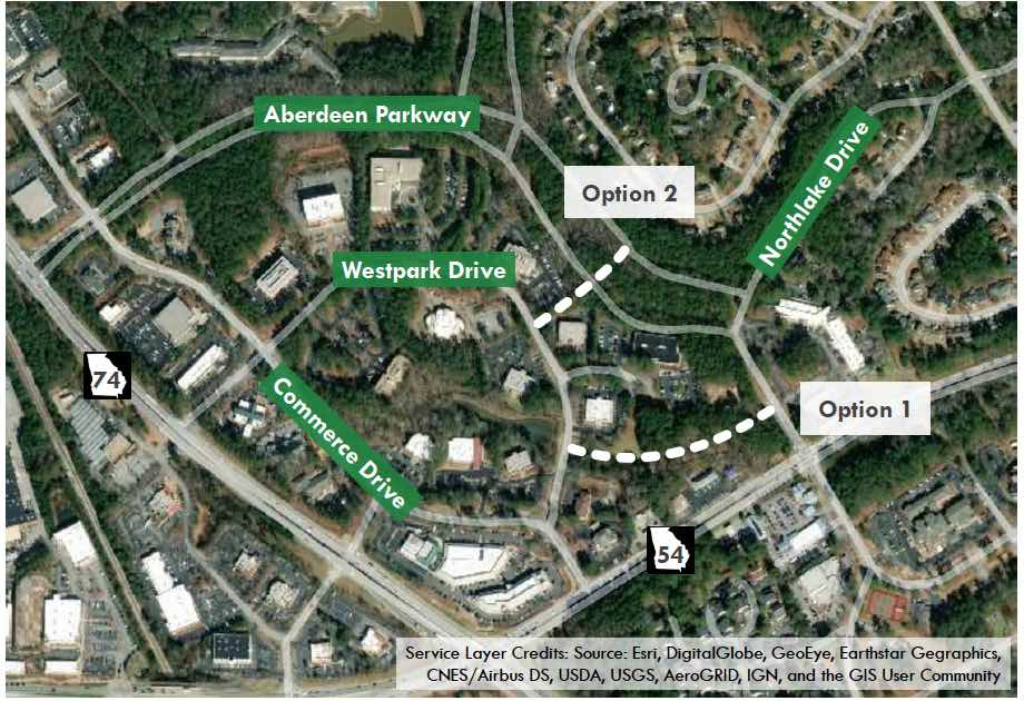 Graphic shows two possible routes for new roads to give access to the Westpark commercial area. Graphic/Peachtree City.