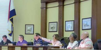 Members of the Fayetteville Planning and Zoning Commission at the March 26 meeting included, from left, commissioners Ken Collins, Toby Spencer and Brett Nolan, Chairman Sarah Murphy and commissioners Debi Renfroe and Joe Clark. Photo/Ben Nelms.
