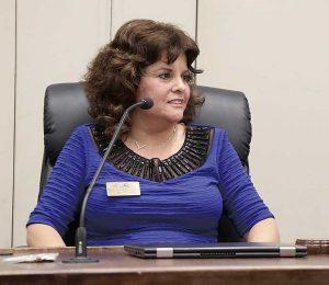 Peachtree City Mayor Vanessa Fleisch at an April City Council meeting. Photo/Hans Appen.