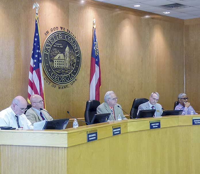 Present at the April 23 meeting of the Fayette County Commission were, from left, commissioners Eric Maxwell and Edge Gibbons, Chairman Randy Ognio and commissioners Chuck Oddo and Charles Rousseau. Photo/Ben Nelms.