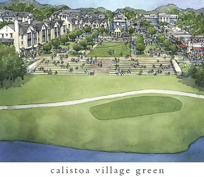 Rendering shows proposed Village Green in Calistoa. Graphic/Peachtree City Council.