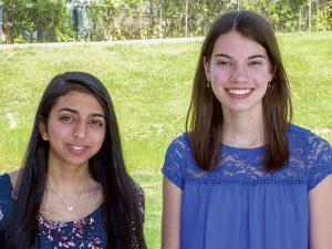 Whitewater High Salutatorian Khusbu Patel (L) and Valedictorian Grace Mallon. Photo / Ben Nelms.