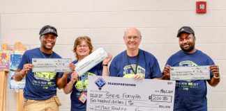 Pictured, from left, are School Bus Safety competition winners Erick Jefferson (second place), Susan Gallucci (third place), Steve Forsyth (first place), and rookie of the year Tichard Chapman. Photo/Fayette County School System.