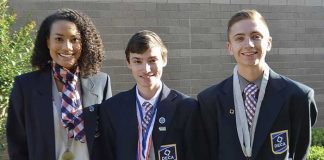 Pictured, from left, are DECA International Career Development Conference top 10 winners McKenzie McManaman, Matthew Moore, and Mason Rzepkowski. Photo/Fayette County School System.