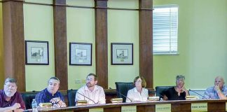 Approvals by the Fayetteville Planning and Zoning Commission on May 28 paves the way for two restaurants to be located at a new business development on Ga. Highway 85 North. Present at the meeting were, from left, commissioners Ken Collins, Toby Spencer and Brett Nolan, Chairman Sarah Murphy and commissioners Debi Renfro and Joe Clark. Photo/Ben Nelms.