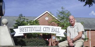 David Rast in front of Fayetteville City Hall. Photo/Ben Nelms.