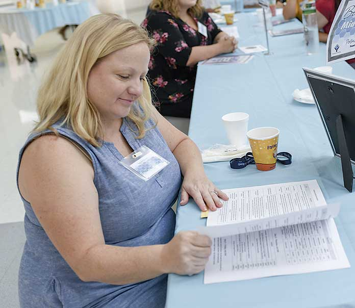 <b>Bennett's Mill Middle teacher Heather Dixon takes a moment to look over the schedule for the next four days of New Teacher Induction.Photo/Fayette County School System.</b>