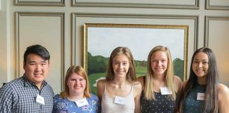 Pictured, from left, are scholarship recipients Christopher Akin, Bridget Sanders, Emily Egan, Hailey Grebeck, and Kaile-Jaden Vathsany Bovapheng.