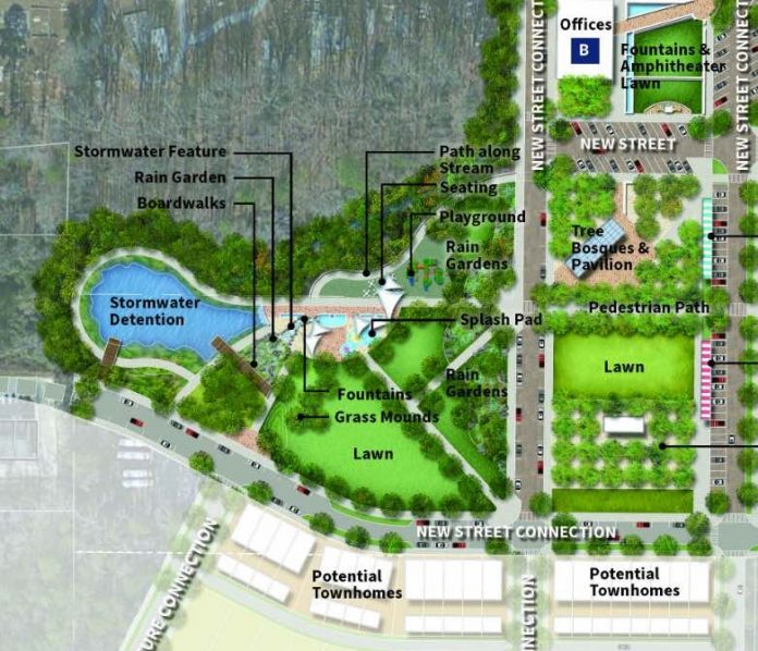 Map shows proposed new city park off Stonewall Avenue and next to the proposed new City Hall (not shown). Graphic/City of Fayetteville.
