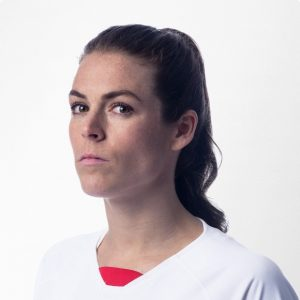 Kelley O'Hara in her official team photo, listing her as a defender.