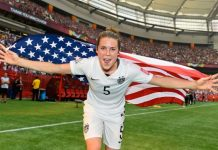 Kelley O'Hara after a big win in 2015.