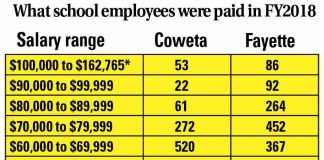 Chart of numbers of employees in the Coweta and Fayette school system grouped by salary ranges. Graphic/The CItizen.