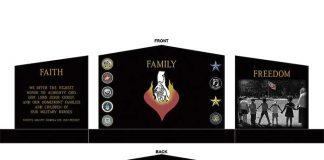 Proposed front and rear view of the Homefront Families Monument. Rendering/Homefront Families of Military Heroes.