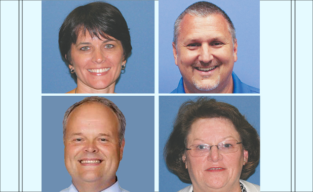 New leaders for the new school year are (clockwise from top left) Erin Angelo, principal, Braelinn Elementary; John Gibbas, principal, Sara Harp Minter; Kathy Smith, principal, Rising Starr Middle; and Richard Smith. interim principal, Sandy Creek High. Photos/Fayette County School System.