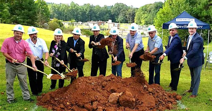 Fayetteville officials and project team members on Aug. 28 broke ground on the Whitewater Creek Water Pollution Control Plant. Photo/City of Fayetteville.