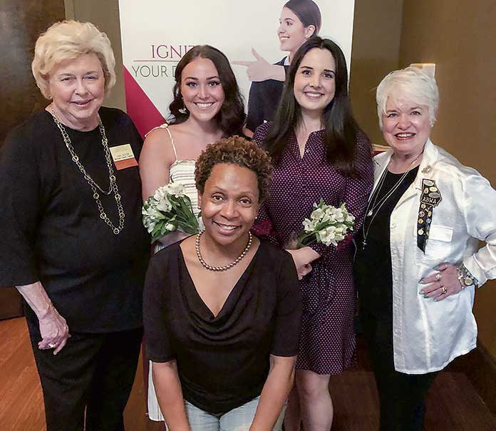 <b>Pictured, from left, are Judy Suiter, charter member of the McIntosh Chapter of the ABWA, Hannah Winslet, Katelyn Davis, and Sharlene Alexander, also a charter member of the McIntosh Chapter. Pam Reid, front, ABWA's scholarship chair. Photo/Submitted.</b>