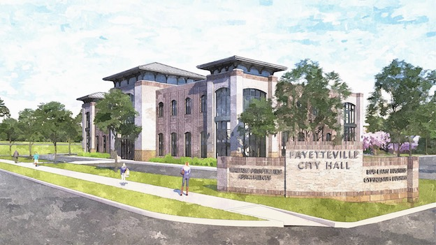 The new Fayetteville City Hall will be located on Stonewall Avenue, one block west of downtown, the current site of the former school system office. The project, and that of the adjacent City Center Park, are anticipated to be complete in late 2020. Rendering/City of Fayetteville.
