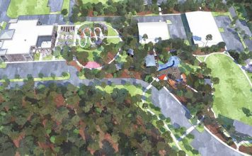 A rendering of the 10-acre site which will be the new home of Fayetteville City Hall and City Center Park shows City Hall fronting Stonewall Avenue at left. The bulk of the acreage will include a wealth of park amenities. Rendering/City of Fayetteville.