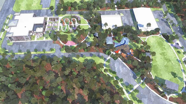 <b>A rendering of the 10-acre site which will be the new home of Fayetteville City Hall and City Center Park shows City Hall fronting Stonewall Avenue at left. The bulk of the acreage will include a wealth of park amenities. Rendering/City of Fayetteville.</b>