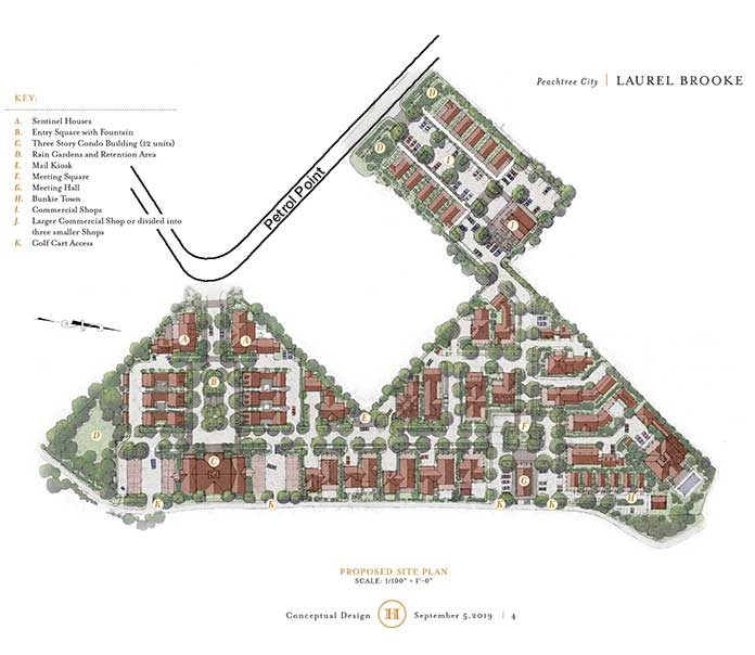 An information-only presentation before the Peachtree City Planning Commission on Sept. 9 unveiled the concept for the Laurel Brooke mixed-use development along Petrol Point near Ga. Highway 54 East. Rendering/Feller Holdings.