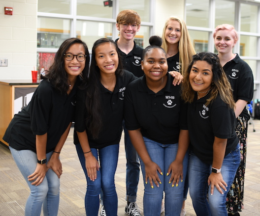 <b>Whitewater High's student ambassadors awaiting the arrival of over 30 Fayette County emergency service personnel. Photo/Fayette County School System.</b>