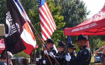The Fayette County Sheriff's Office Color Guard presented the colors at the POW/MIA Remembrance Day ceremonies held Sept. 20 at Patriot Park in Fayetteville. Photo/Ben Nelms.