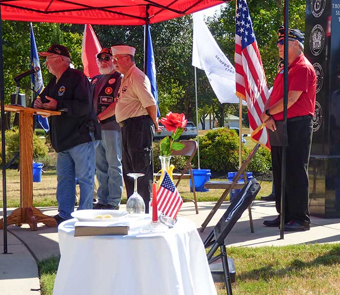 <b>The highly symbolic POW/MIA Missing Table, remembering all those from past wars and conflicts still unaccounted for, was featured at the POW-MIA Remembrance Day ceremonies on Sept. 20 at Fayetteville's Patriot Park. Photo/Ben Nelms.</b>