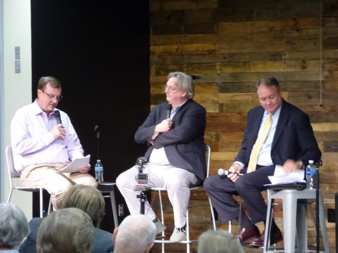 Moderator Steve Brown, at left, was joined by Fayette County Board of Education Chairman Scott Hollowell and school board member Barry Marchman for a Sept. 10 meeting with parents at The Bridge Community Center in Peachtree City. Photo/Ben Nelms.