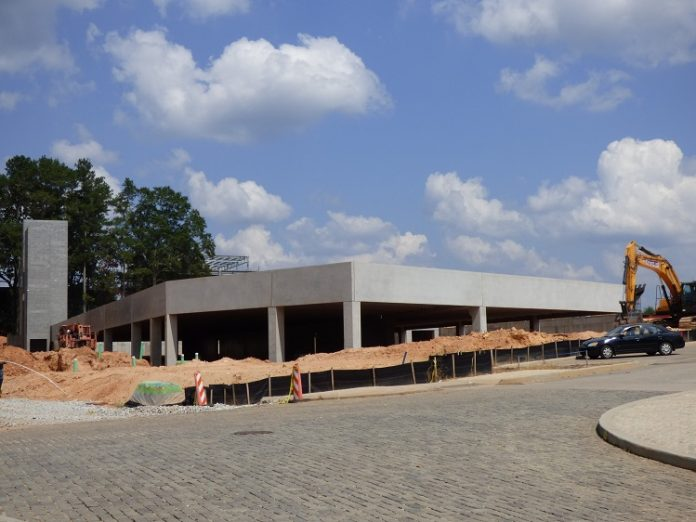 Recognize this structure? It's the parking deck which will be situated inside the outline of one of the three commercial and residential buildings in the Town Center portion of Pinewood Forest in Fayetteville. Photo/Ben Nelms.