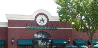 Starbucks at The Avenue in Peachtree City, pictured above, will be moving a short distance to the east when the new store is built. Photo/Ben Nelms.