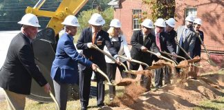 Fayetteville city officials and project and design representatives threw the first shovels of dirt at the Oct. 1 groundbreaking for the new 10-acre City Hall and City Center Park project located on Stonewall Avenue near downtown. (L-R) Rob Ragan with New South Construction, Eric Johnson with Comprehensive Program Services, City Council members Paul Oddo and Kathaleen Brewer, Mayor Ed Johnson, Council Member Scott Stacy, Mayor Pro-Tem Rich Hoffman, City Manager Ray Gibson, and Amy Bell with Goodwyn, Mills and Cawood. Photo/City of Fayetteville.