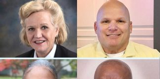 Fayetteville post 2 candidates: (clockwise from top left) Kathaleen Brewer, Joe Clark, Kevin Pratt and Oyin Mitchell. Photos/Submitted.