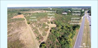 Aerial view of 123 acre site known as the Lester property. This drone view looks northeast across the open pasture part of the site. Photo/Fayette County Development Authority.