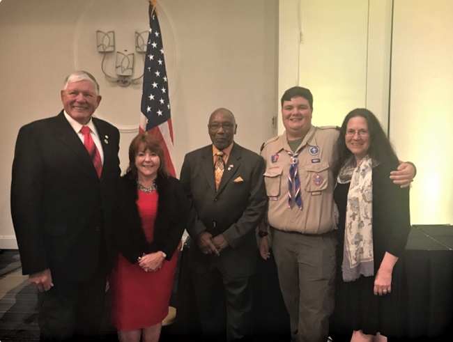 """Fayette County resident Matthew Hyle has been named Georgia American Legion """"Eagle Scout of the Year."""" Pictured from the left are Ray Willcocks, Post 105 member and Dept. of Georgia Scouting Chairman,Patsy Leander, Auxiliary Unit 105 member, Eddie Asbury, Dept of Georgia Commander, Matthew Hyle, and Dr. Susan Northrup, Hyle's mother and member of Post 105. Photo/Submitted."""