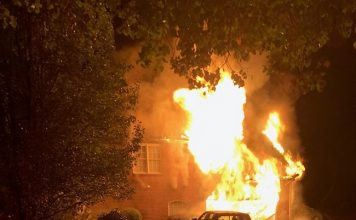 An early morning blaze on Oct. 27 at a Sutton's Cove residence in Peachtree City came with no injuries, though the home is expected to be a total loss. Photo/Peachtree City Fire Department.
