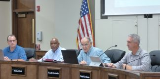 Recommending a mixed-use proposal off Petrol Point on Oct. 21 were, from left, Peachtree City Planning commissioners Scott Ritenour, Michael Link, Chairman Frank Destadio and Paul Gresham. Photo/Ben Nelms.
