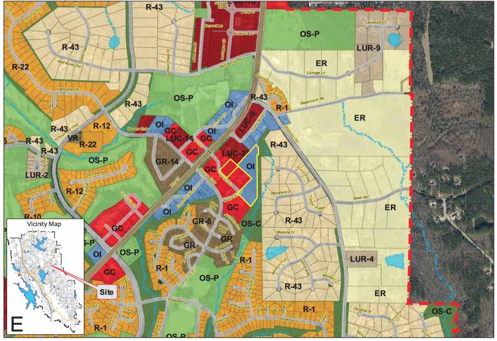 <b>Map shows site of proposed rezoning. Graphic/City of Peachtree City.</b>