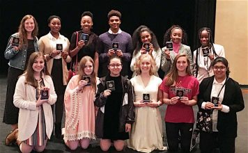 Fayette poetry students show off their awards from Clemson University Poetry Contest. Photo/Fayette County School Syste.