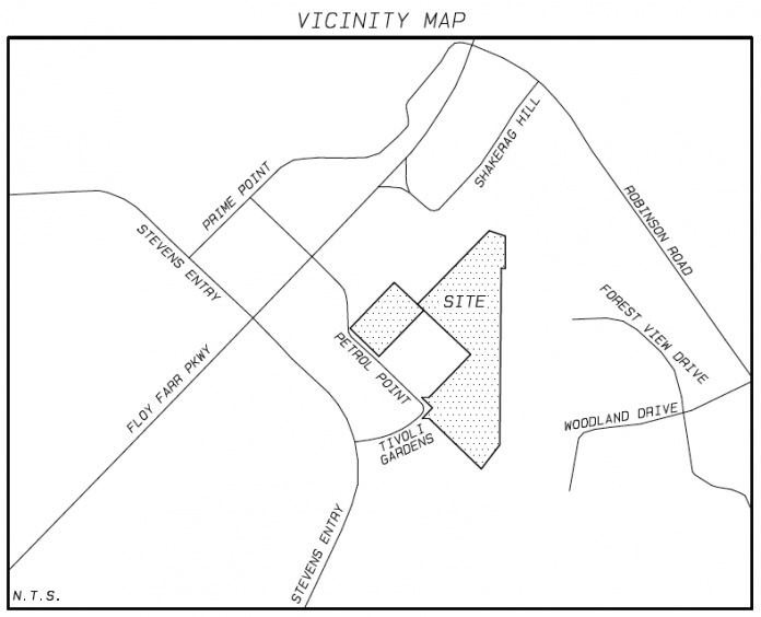 Vicinity map for Peachtree City's new mini-village center. Graphic/Peachtree City Planning Commission.