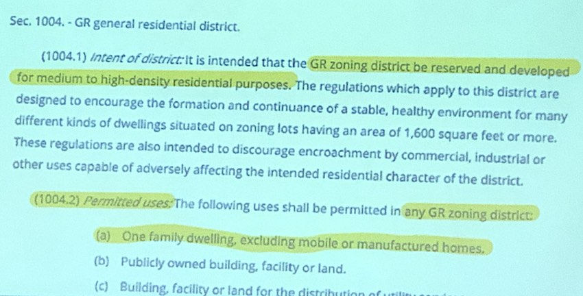 <b>City Council slide showing definition of GR zoning district. Graphic/Peachtree City.</b>