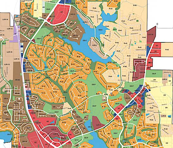 <b>Peachtree City official 2019 zoning map, north part of city shown.</b>