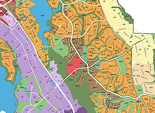 <b>Official Peachtree City zoning map, south half of city shown. Graphic/Peachtree City.</b>