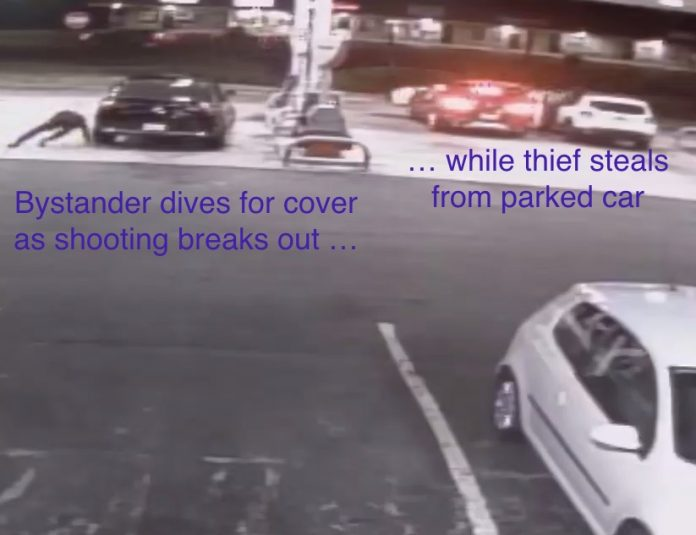 Armed thieves steal from car as bystander dives for cover. From surveillance video.