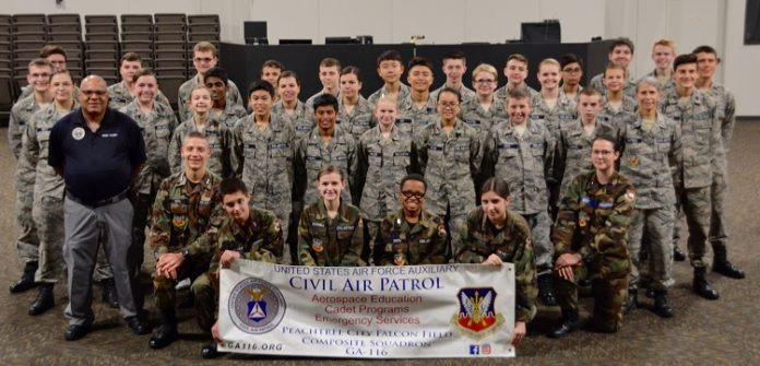 Thirty-seven new Civil Air Patrol recruits recently earned their first rank from the Peachtree City Falcon Field Composite Squadron. Photo/Candice Serafin.