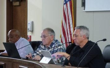 The Peachtree City Planning Commission on Nov. 11 approved the conceptual site plan for a 3,600 sq. ft. medical office building on Lexington Circle. Pictured, from left, are Commissioner Michael Link, Chairman Frank Destadio and Commissioner Paul Gresham. Photo/Ben Nelms.