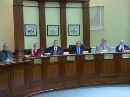 Members of the Fayetteville City Council at the Dec. 5 meeting included, from left, council members Harlan Shirley, Kathaleen Brewer and Paul Oddo, Mayor Ed Johnson and council members Rich Hoffman and Scott Stacy. Photo/Ben Nelms.