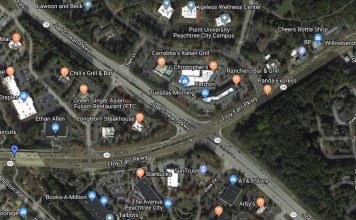Google map view of businesses around the 54-74 intersection.
